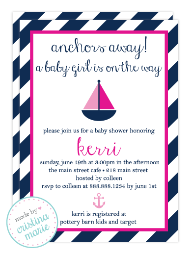 baby shower invitations nautical sailing girl bsi193 images frompo